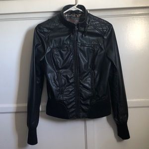 Soft faux leather zip up jacket